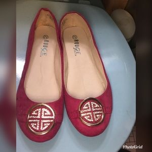 Ladies Pink Flats Size 71/2